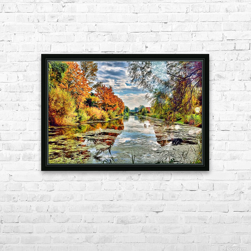 Autumn River HD Sublimation Metal print with Decorating Float Frame (BOX)