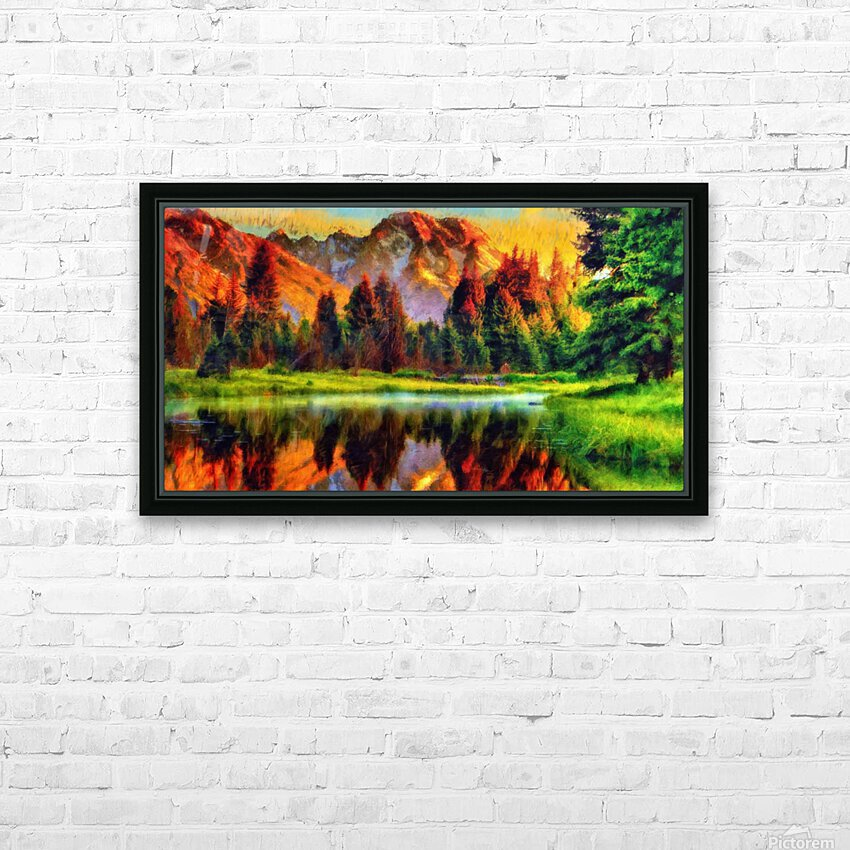 Mountain Lake  HD Sublimation Metal print with Decorating Float Frame (BOX)