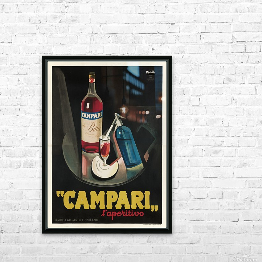Campari Original Vintage Poster HD Sublimation Metal print with Decorating Float Frame (BOX)