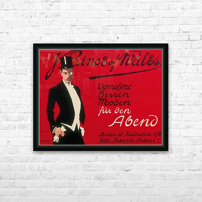 Prince of Wales Original Vintage Poster HD Sublimation Metal print with Decorating Float Frame (BOX)