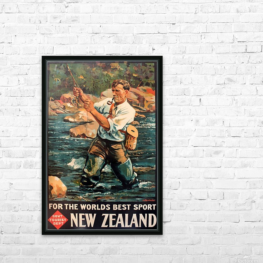 New Zealand Original Vintage Travel Poster HD Sublimation Metal print with Decorating Float Frame (BOX)