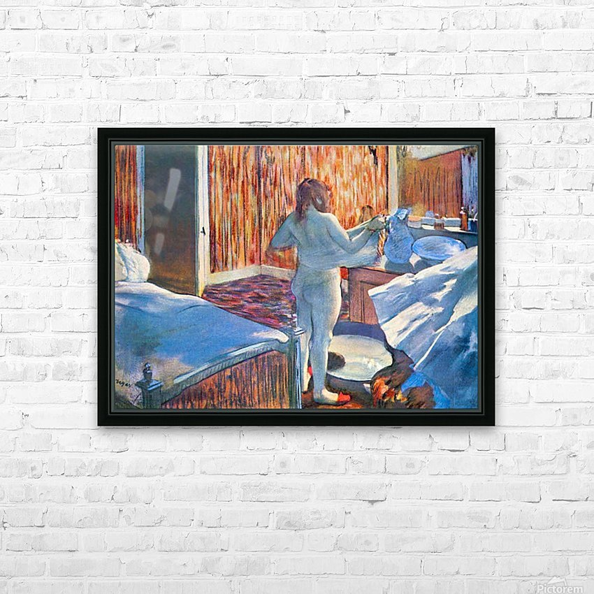 Women at the toilet 3 by Degas HD Sublimation Metal print with Decorating Float Frame (BOX)