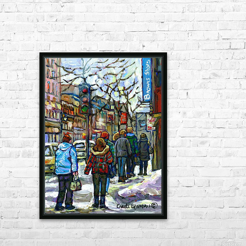 DOWNTOWN MONTREAL WINTER SCENE SHOPPERS ON ST. CATHERINE STREET HD Sublimation Metal print with Decorating Float Frame (BOX)