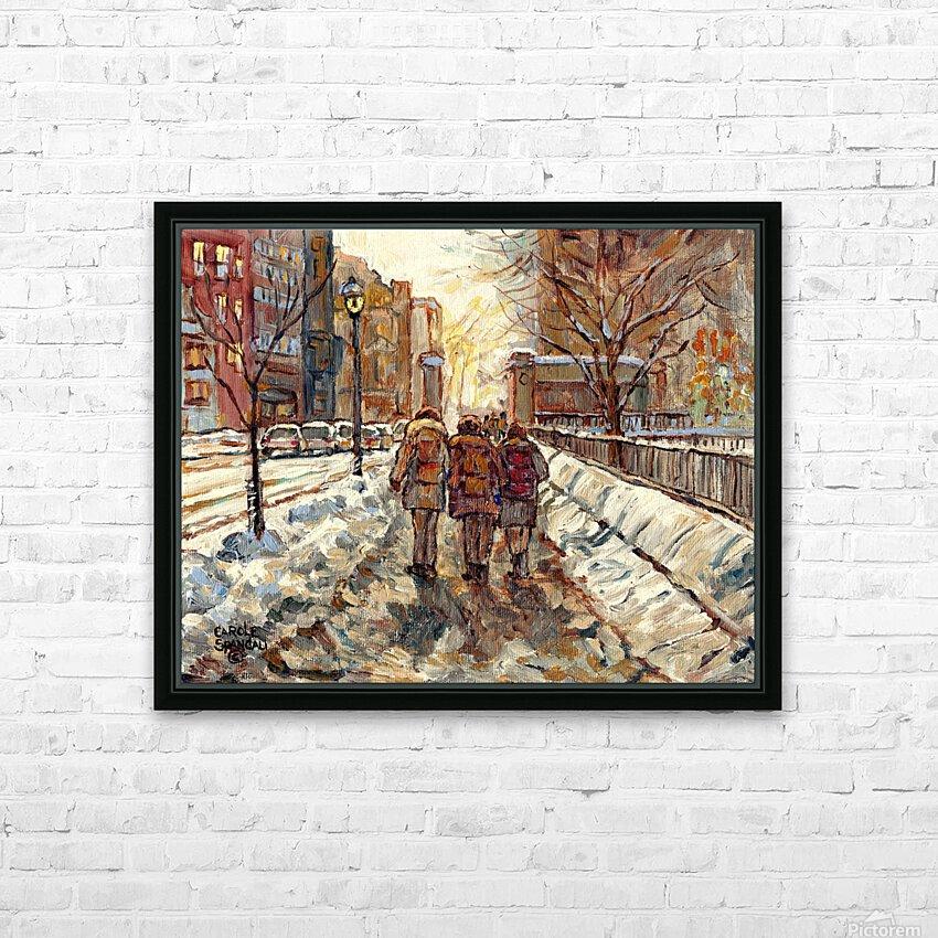 MONTREAL WINTER SCENE MCGILL WINTER WALK NEAR RODDICK GATES HD Sublimation Metal print with Decorating Float Frame (BOX)
