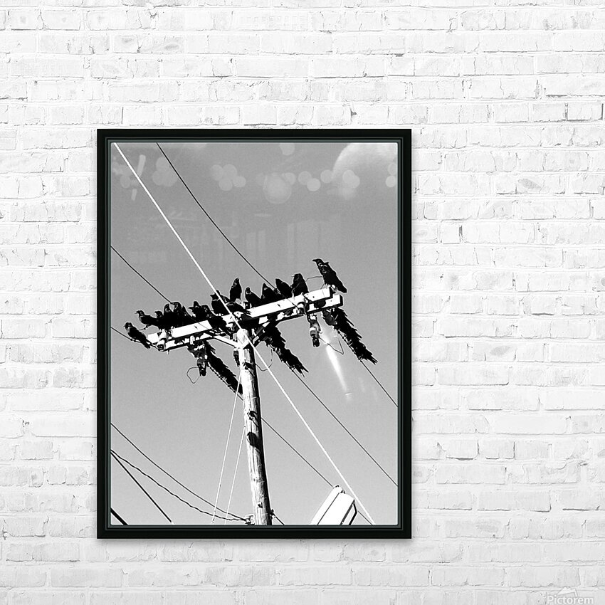 Birds on a wire HD Sublimation Metal print with Decorating Float Frame (BOX)