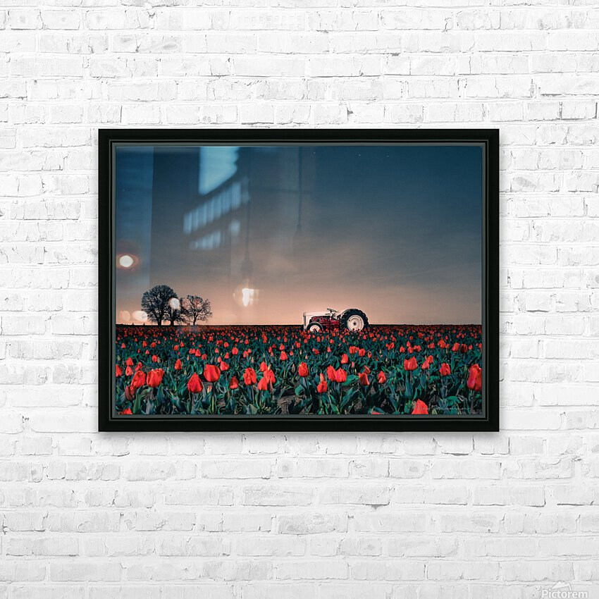 Tractors & Tulips HD Sublimation Metal print with Decorating Float Frame (BOX)