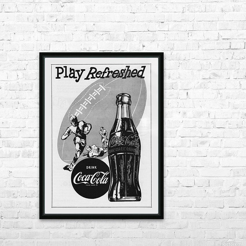1952 Vintage Coke Football Ad Poster HD Sublimation Metal print with Decorating Float Frame (BOX)