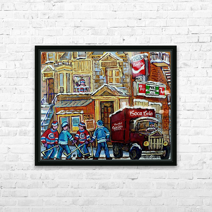 MOE S DINER CASSE CROUTE DU COIN MONTREAL WINTER SCENE HD Sublimation Metal print with Decorating Float Frame (BOX)