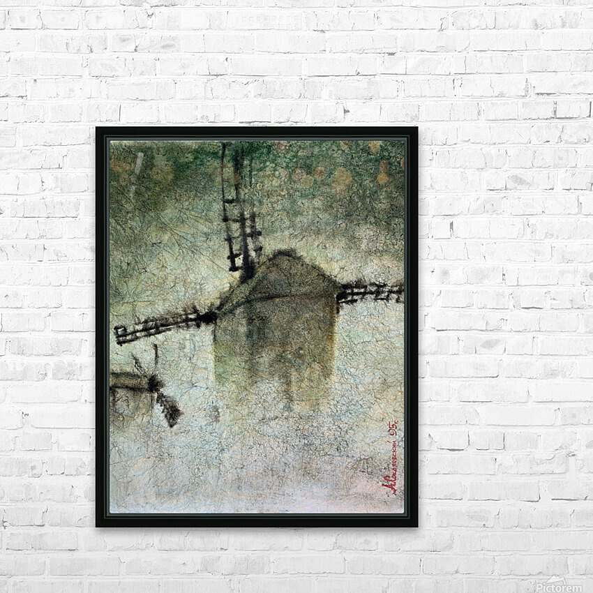 Windmills in the fog HD Sublimation Metal print with Decorating Float Frame (BOX)