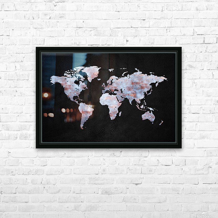 Artistic World Map XII HD Sublimation Metal print with Decorating Float Frame (BOX)