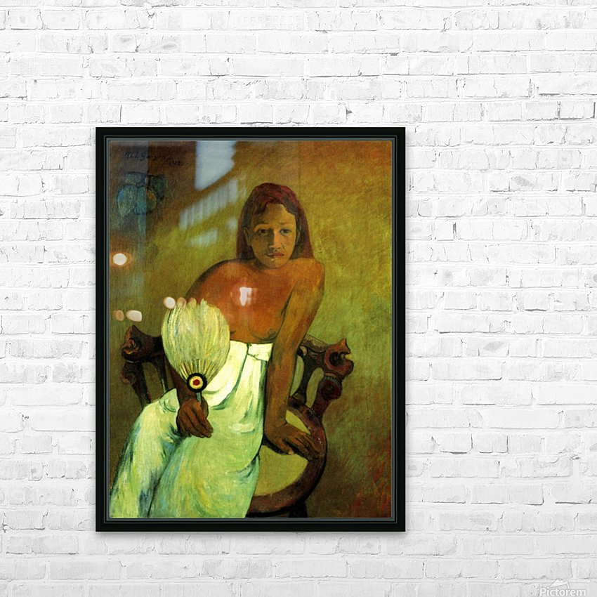 Young Girl with Fan by Gauguin HD Sublimation Metal print with Decorating Float Frame (BOX)