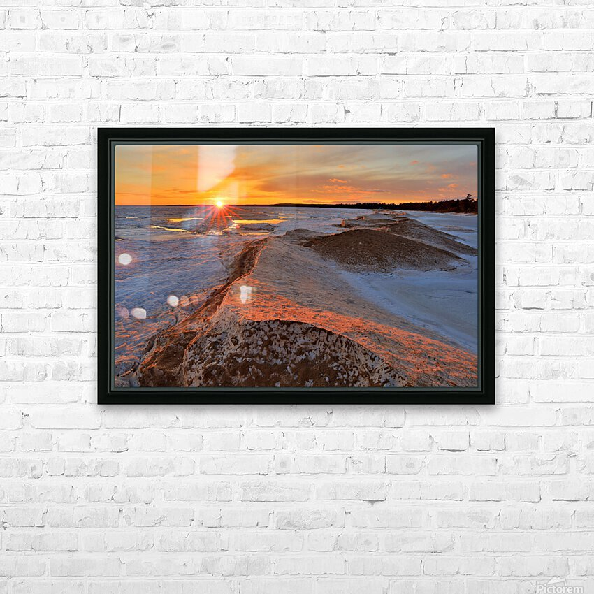 Icy Sunset  Naubinway Michigan HD Sublimation Metal print with Decorating Float Frame (BOX)
