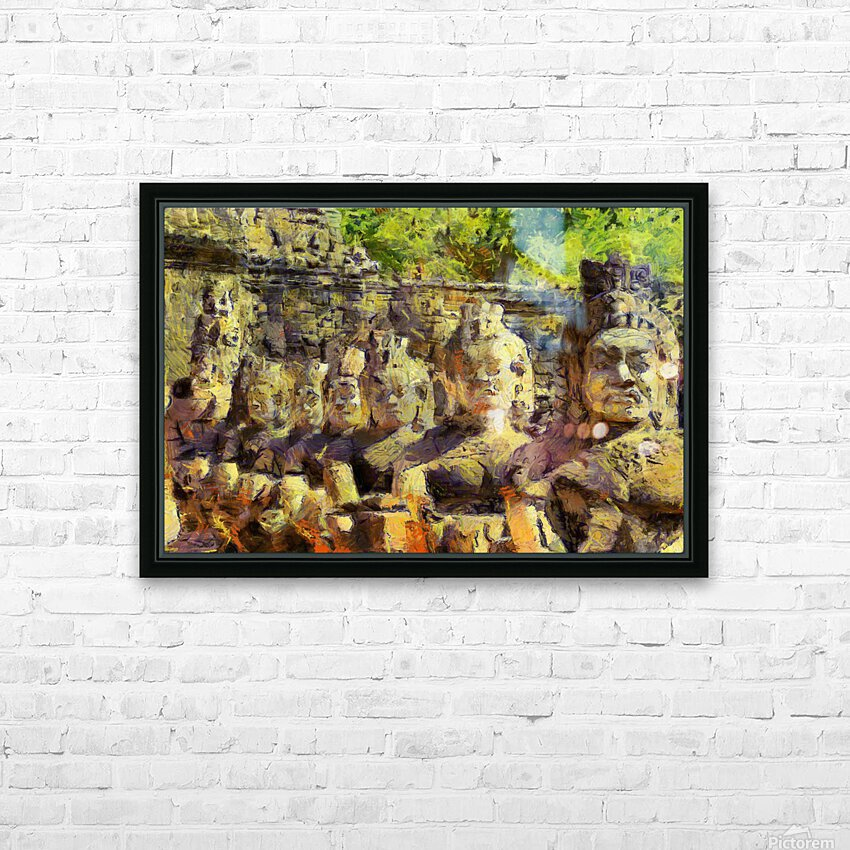 CAMBODIA Angkor Wat oil painting in Vincent van Gogh style. 141 HD Sublimation Metal print with Decorating Float Frame (BOX)