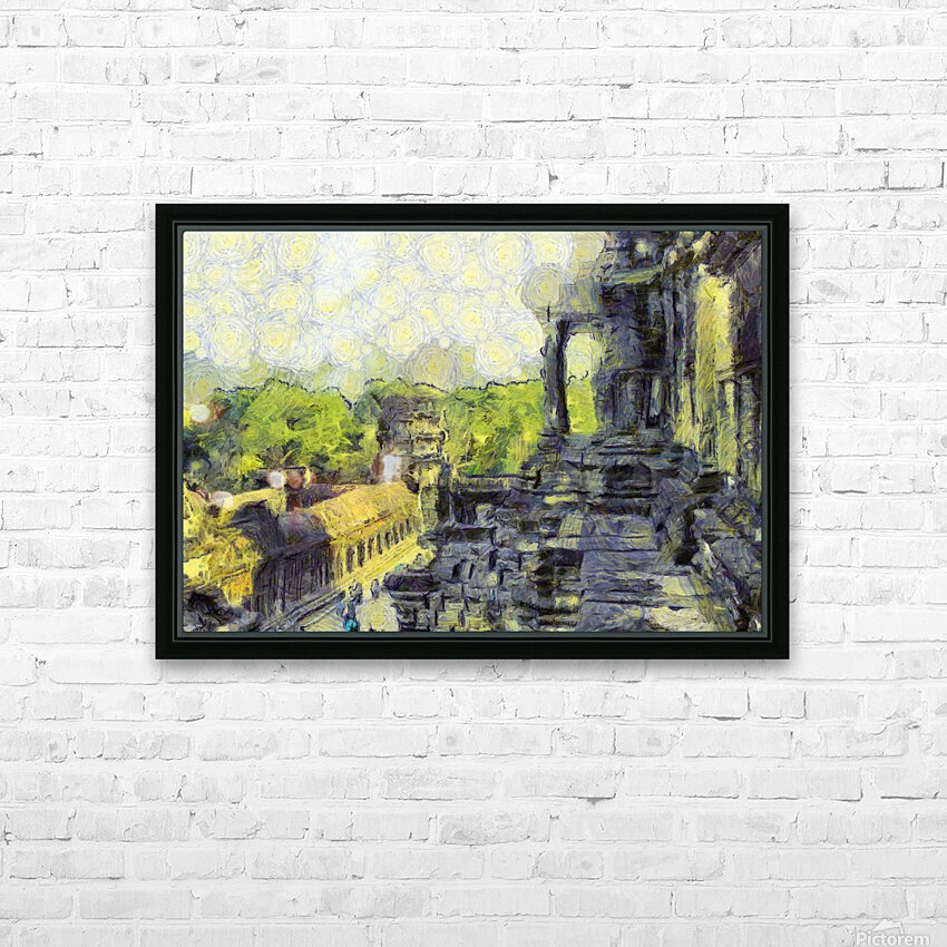 CAMBODIA Angkor Wat oil painting in Vincent van Gogh style. 130 HD Sublimation Metal print with Decorating Float Frame (BOX)