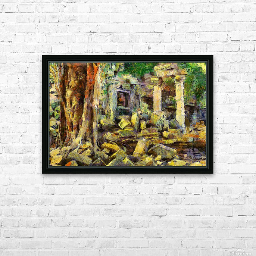 CAMBODIA Angkor Wat oil painting in Vincent van Gogh style. 148 HD Sublimation Metal print with Decorating Float Frame (BOX)