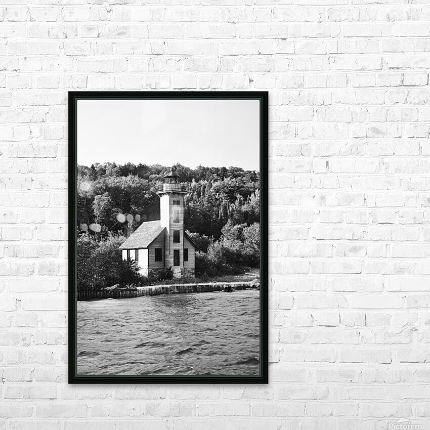 Grand Island Light house BW HD Sublimation Metal print with Decorating Float Frame (BOX)