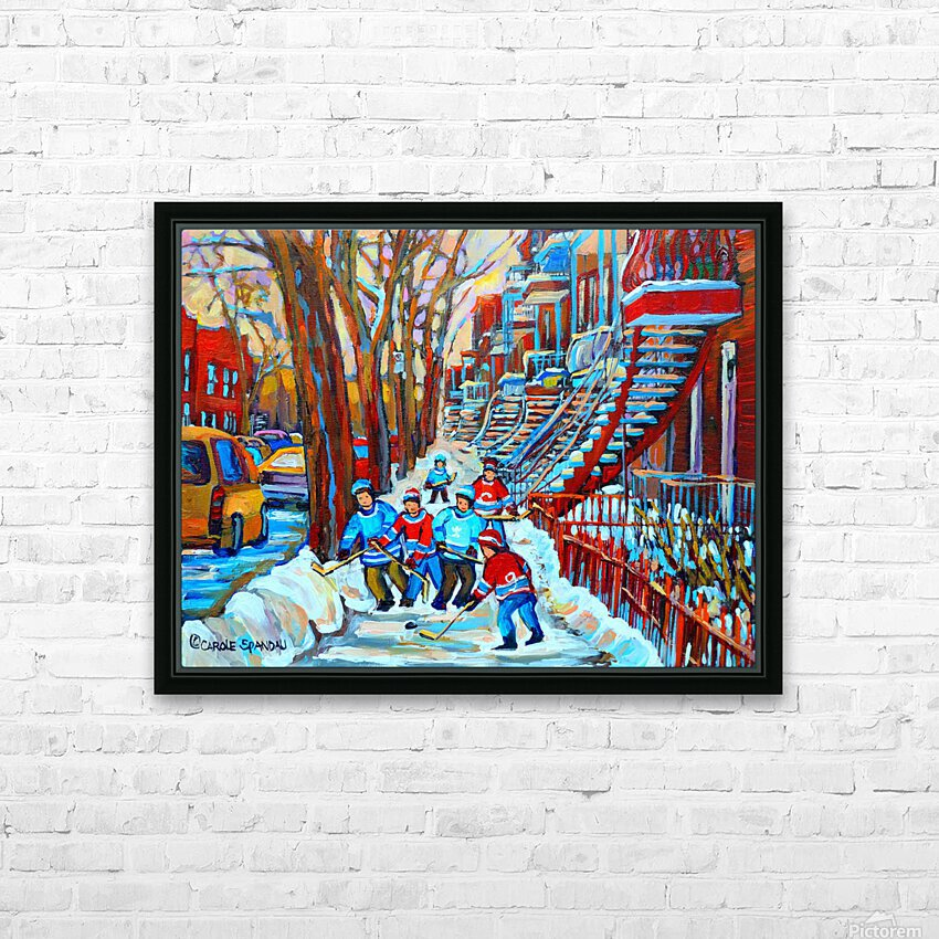 HOCKEY ON DEBULLION MONTREAL WINTER SCENE HD Sublimation Metal print with Decorating Float Frame (BOX)