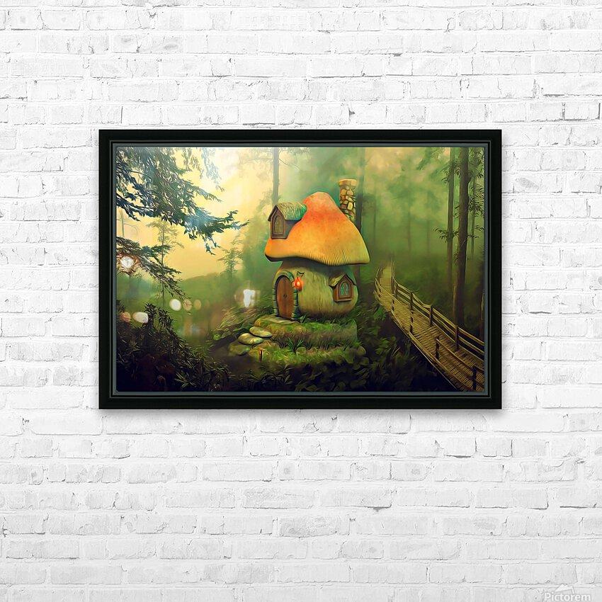 Mushroom Cottage HD Sublimation Metal print with Decorating Float Frame (BOX)