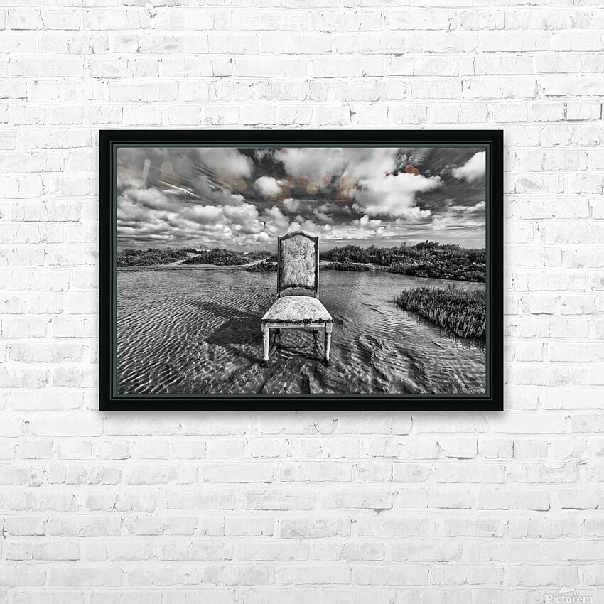 Chair in pool of water - B&W version HD Sublimation Metal print with Decorating Float Frame (BOX)