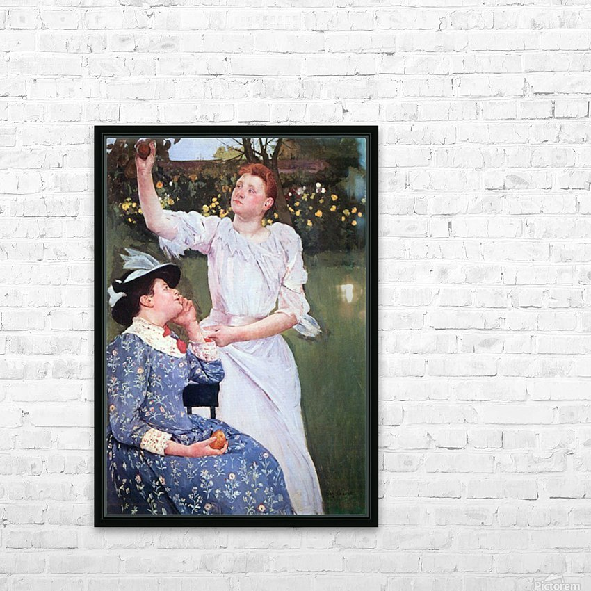 Young woman picking fruit by Cassatt HD Sublimation Metal print with Decorating Float Frame (BOX)