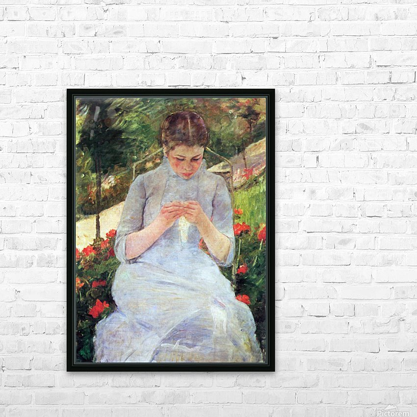 Young woman sewing in the garden by Cassatt HD Sublimation Metal print with Decorating Float Frame (BOX)