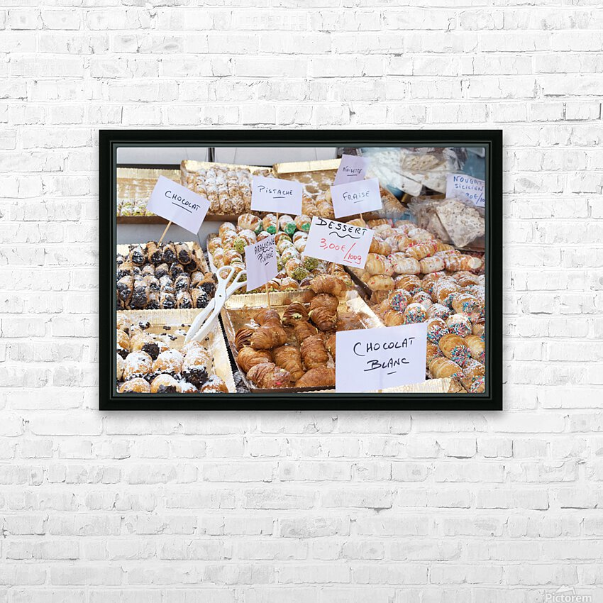 Desserts at market in France HD Sublimation Metal print with Decorating Float Frame (BOX)