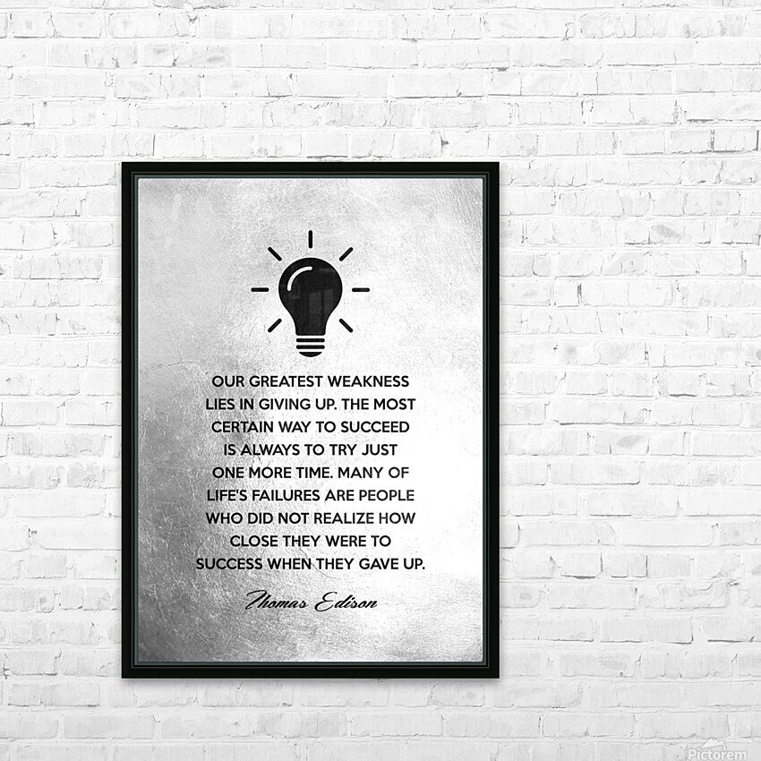 Thomas Edison Motivational Wall Art HD Sublimation Metal print with Decorating Float Frame (BOX)