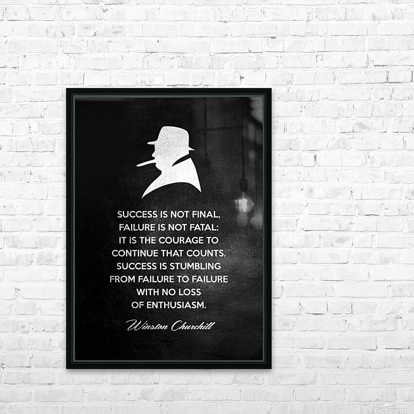Winston Churchill Motivational Wall Art HD Sublimation Metal print with Decorating Float Frame (BOX)