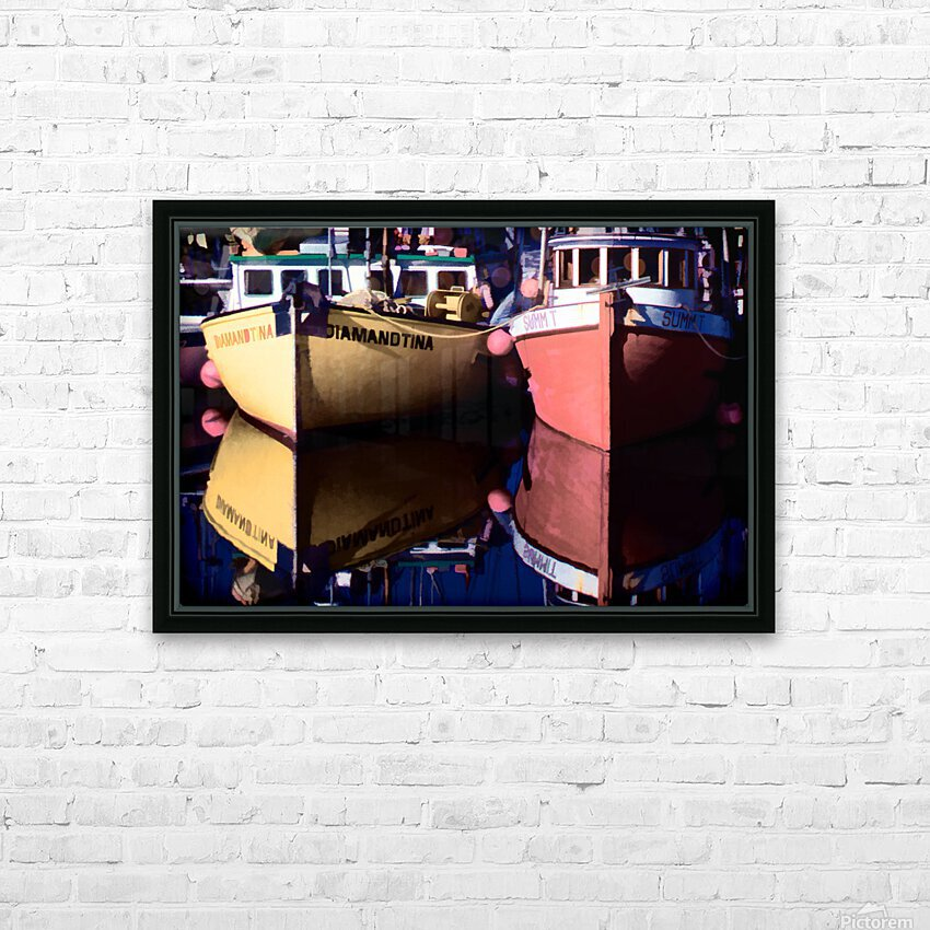 Moored Fishing Boats HD Sublimation Metal print with Decorating Float Frame (BOX)