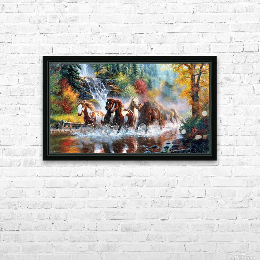 Galloping River HD Sublimation Metal print with Decorating Float Frame (BOX)