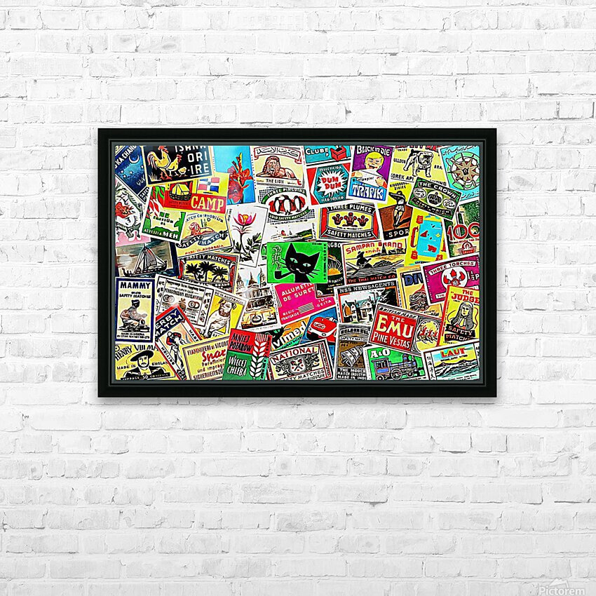 Matchbox Label Collage HD Sublimation Metal print with Decorating Float Frame (BOX)
