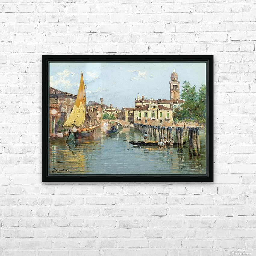 Gondolas on a canal in Venice HD Sublimation Metal print with Decorating Float Frame (BOX)