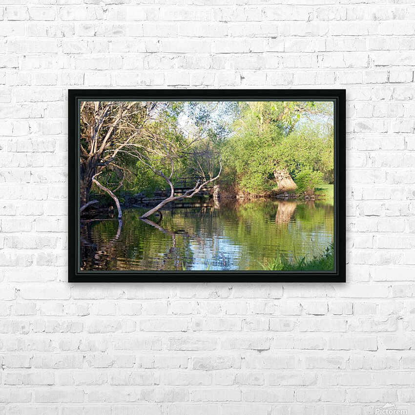 Relaxing Pond View HD Sublimation Metal print with Decorating Float Frame (BOX)