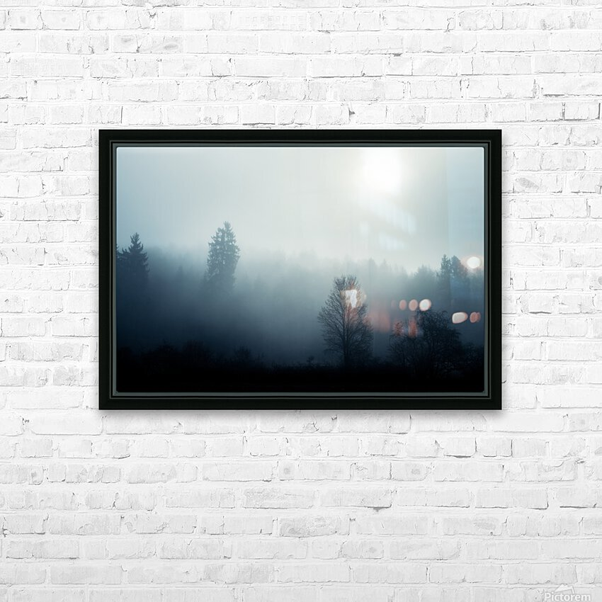 Sunrise in the misty forest HD Sublimation Metal print with Decorating Float Frame (BOX)