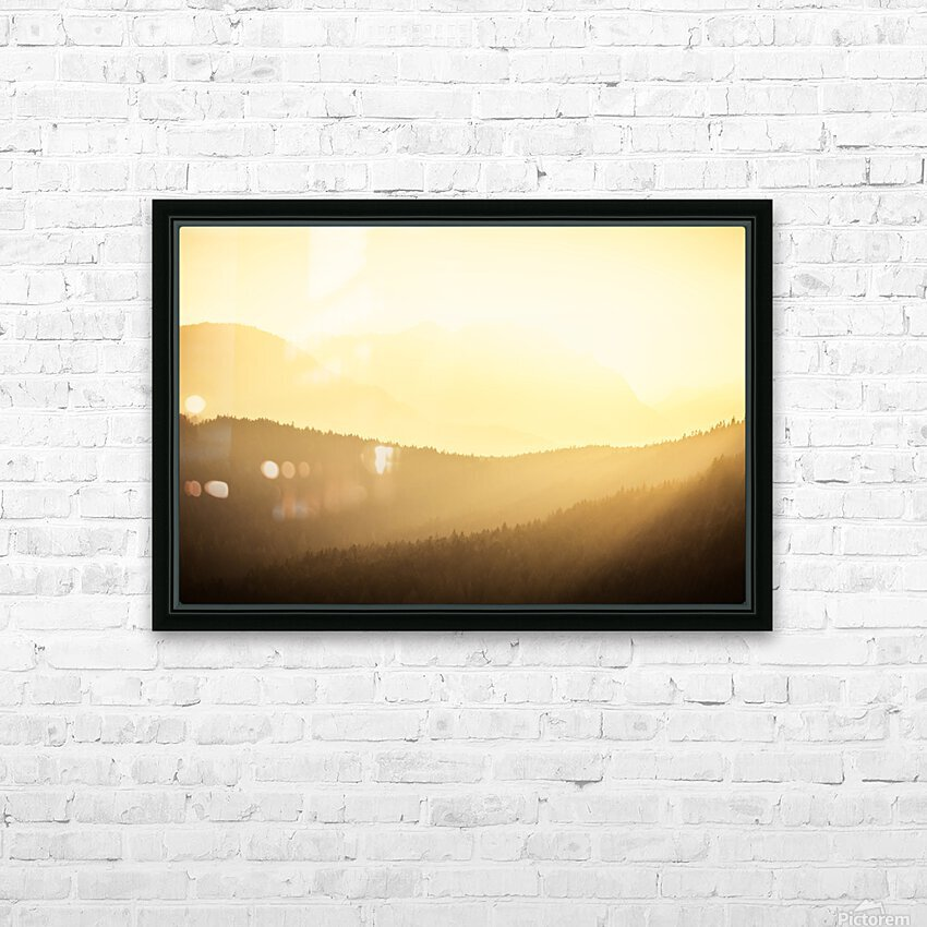 Mountain sunrise HD Sublimation Metal print with Decorating Float Frame (BOX)