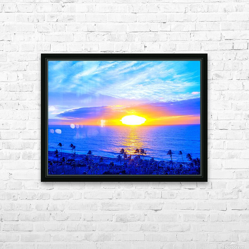 Rainbow Sunset in the Tropics   Hawaii HD Sublimation Metal print with Decorating Float Frame (BOX)
