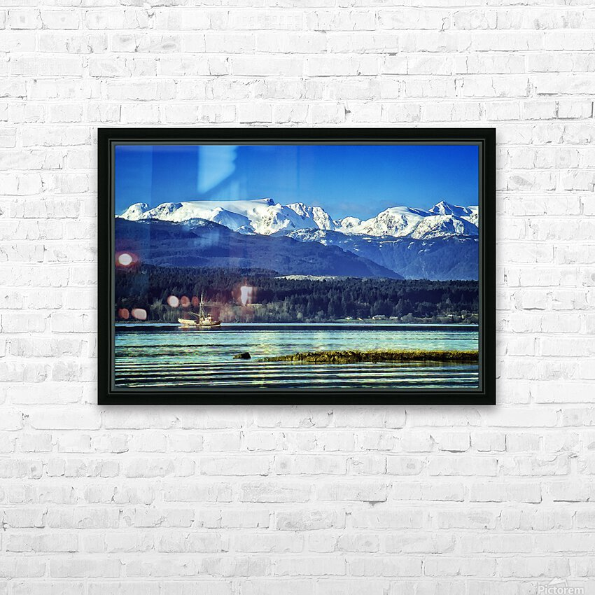 Comox Glacier and Herring Boat HD Sublimation Metal print with Decorating Float Frame (BOX)