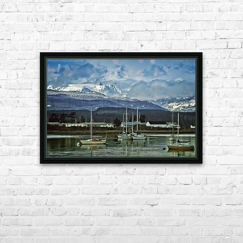 Comox Glacier Overlooking Comox Harbor HD Sublimation Metal print with Decorating Float Frame (BOX)