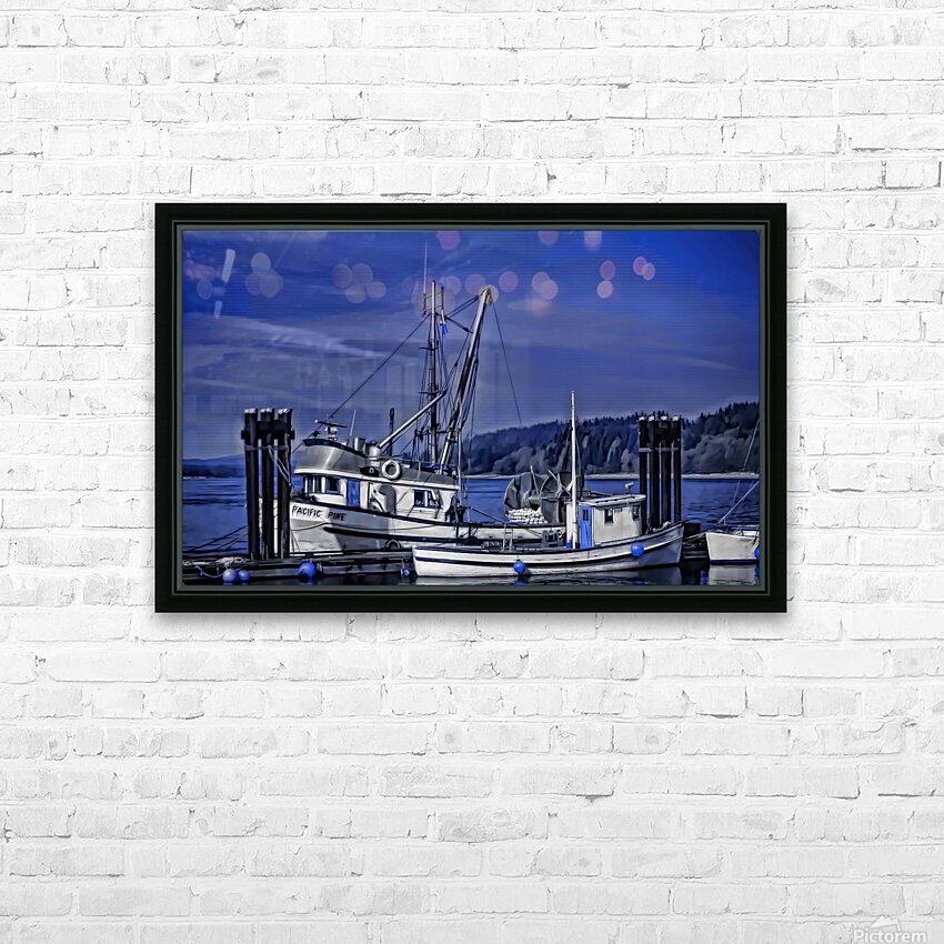 Fishing Boats at the Dock HD Sublimation Metal print with Decorating Float Frame (BOX)
