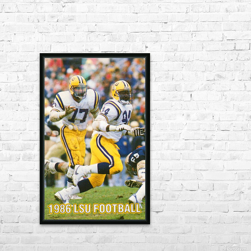 1986 LSU Retro Football Poster  HD Sublimation Metal print with Decorating Float Frame (BOX)