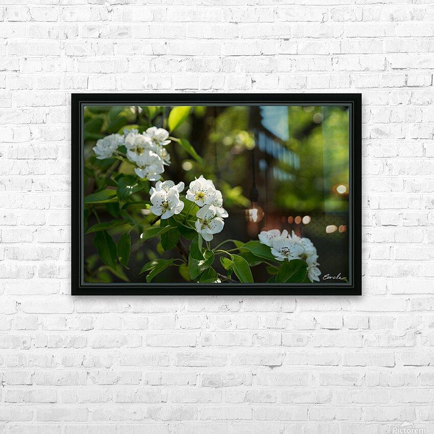 Poirier en fleurs 1  HD sublimation métal imprimé avec décoration flotteur cadre (boîte)