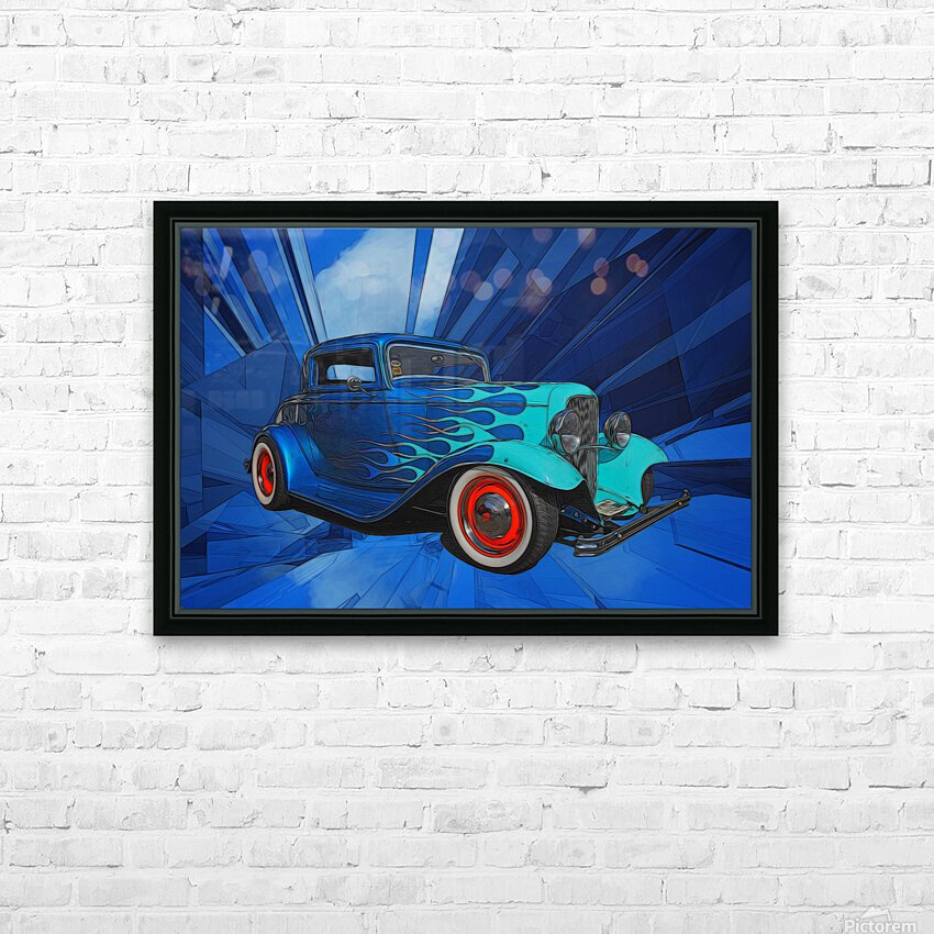 1932 Ford 3-Window Coupe HD Sublimation Metal print with Decorating Float Frame (BOX)