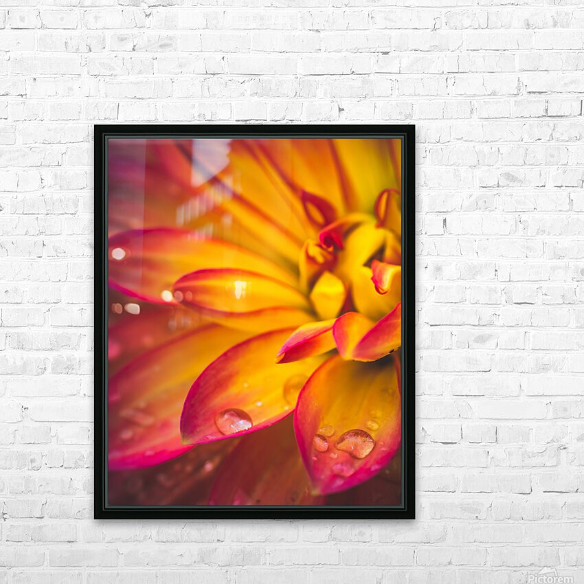 Rain On The Flowers HD Sublimation Metal print with Decorating Float Frame (BOX)
