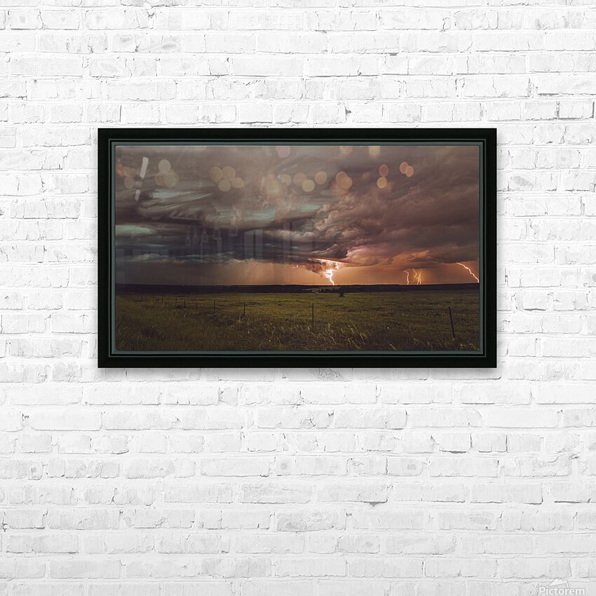 Lightning On The Prairies HD Sublimation Metal print with Decorating Float Frame (BOX)