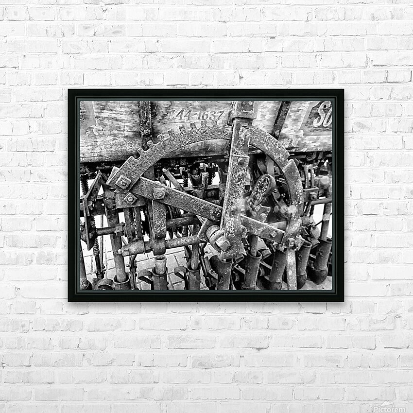 Antique Ploughing Machinery Black and White HD Sublimation Metal print with Decorating Float Frame (BOX)