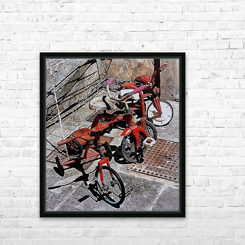 Italian Toy Antique Tricycles HD Sublimation Metal print with Decorating Float Frame (BOX)