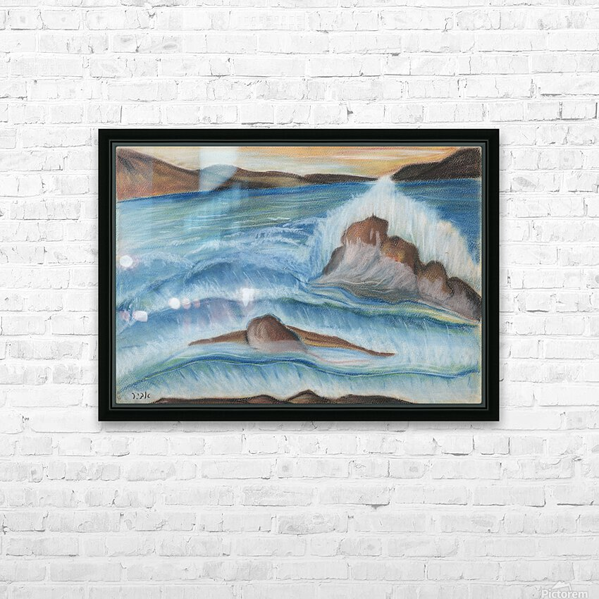 RA 002 - גל מתנפץ - crashing wave HD Sublimation Metal print with Decorating Float Frame (BOX)