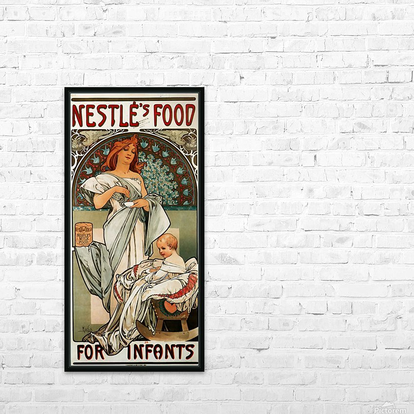 Nestle by Alphonse Mucha HD Sublimation Metal print with Decorating Float Frame (BOX)