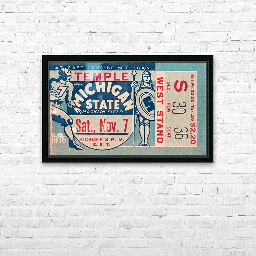1936 Michigan State vs. Temple Football Ticket Art HD Sublimation Metal print with Decorating Float Frame (BOX)