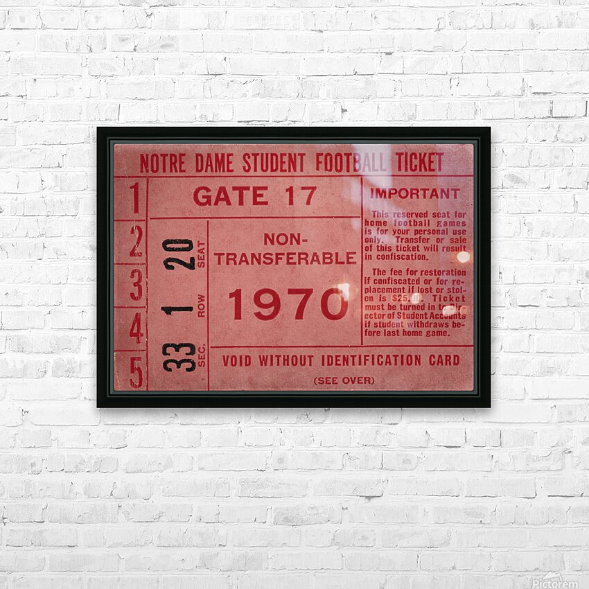 1970 Notre Dame Football Student Season Ticket Art HD Sublimation Metal print with Decorating Float Frame (BOX)